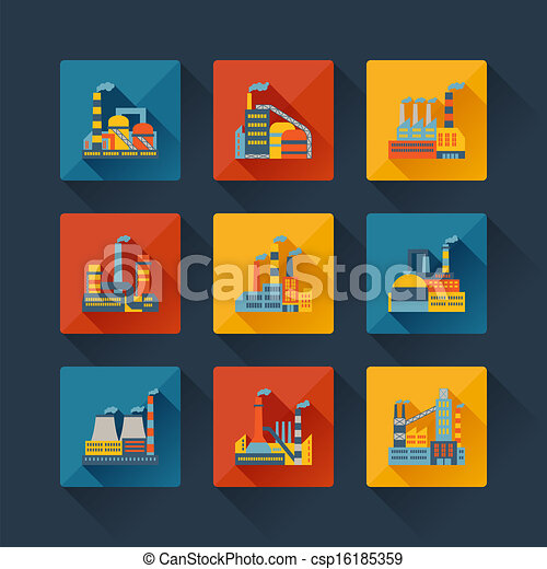 Industrial factory buildings icons set in flat design style. - csp16185359