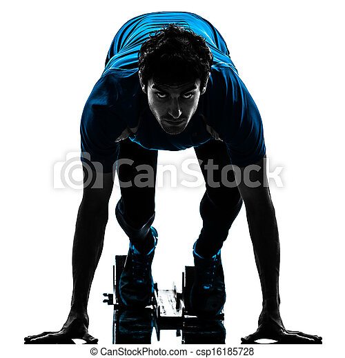 man runner sprinter on starting blocks   silhouette - csp16185728