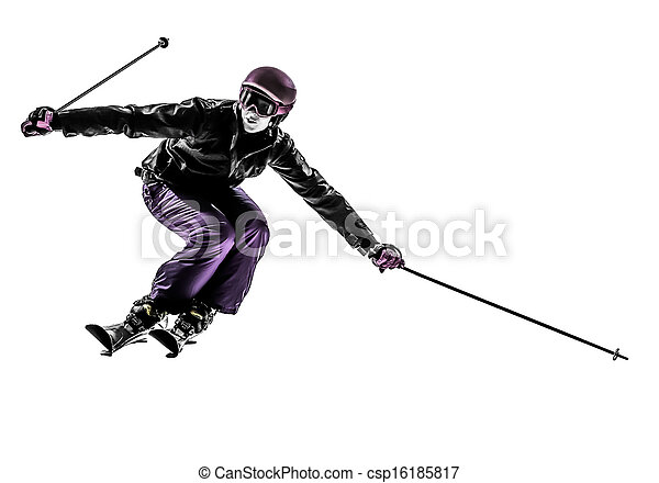 one woman skier skiing slaloming  silhouette - csp16185817