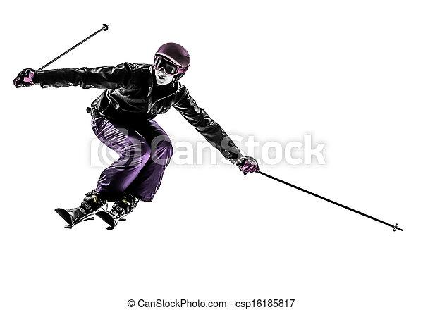 one woman skier skiing slaloming  silhouette - csp16185817