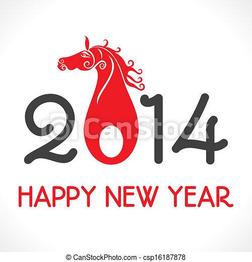 nuevo, feliz,  2014, saludo, año - csp16187878
