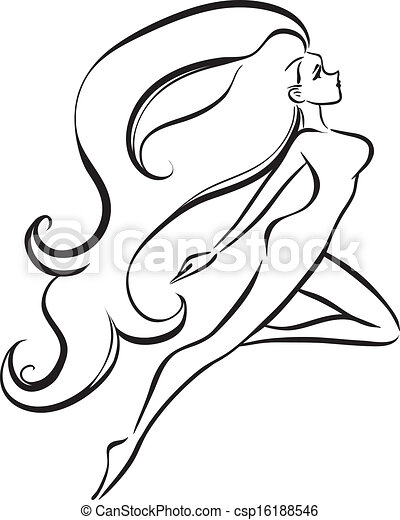 eps vector of slender girl with long thick hair vector