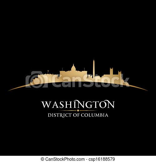 Washington DC city skyline silhouette black background - csp16188579