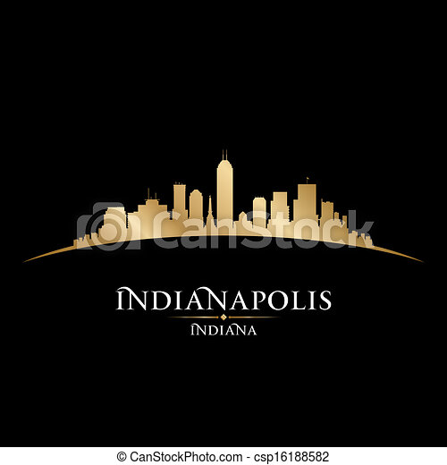 Indianapolis Indiana city skyline silhouette black background - csp16188582