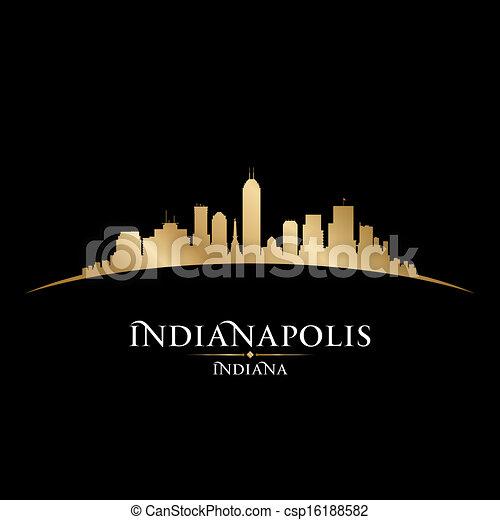 Indianapolis Indiana city skyline silhouette black background  - csp16188582