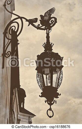 Picture of Vintage retro style lamp post birds - Vintage retro ...