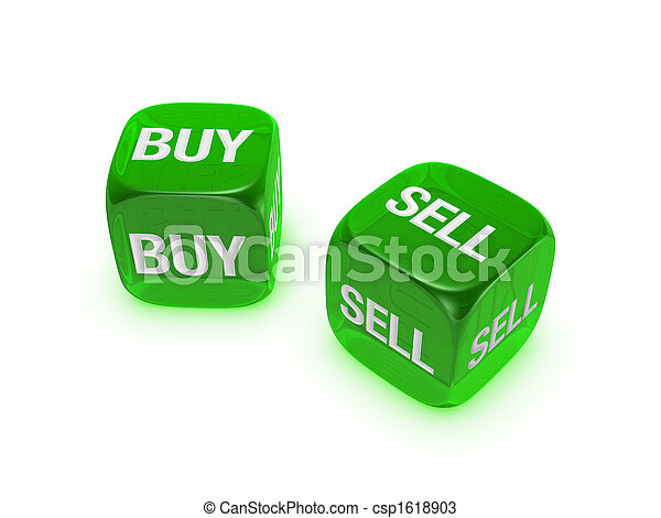 pair of translucent green dice with buy, sell sign - csp1618903