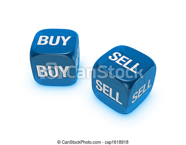 pair of translucent blue dice with buy, sell sign - csp1618918