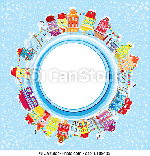 Abstract round banner with small fairy town on light blue sky background with decorative colorful houses in winter time. Christmas and New Year holidays card. - csp16189483