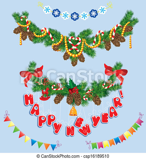 Set of Christmas and New Year garlands with horse toy, bell, bows, ribbons, sweets, candies. - csp16189510