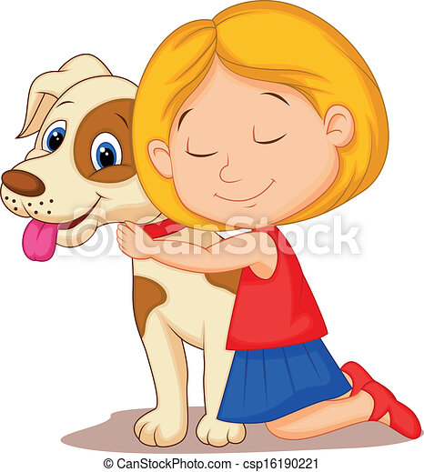 Lovely cartoon little girl hugging  - csp16190221
