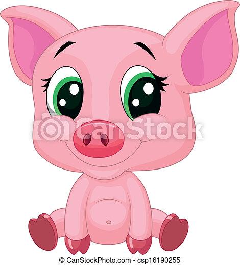 Vecteur clipart de b b mignon dessin anim cochon - Dessin cochon mignon ...