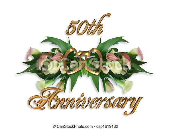 Stock Illustration 50th Anniversary Calla Lilies