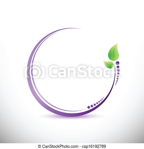purple and green leaves illustration design - csp16192789