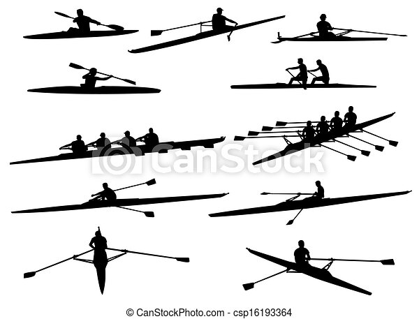 Art Vector of rowing silhouettes - vector csp16193364 - Search Clipart ...