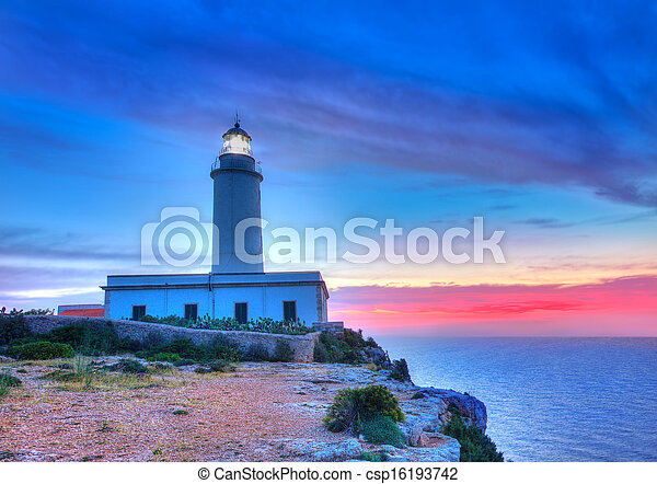 La Mola Cape Lighthouse Formentera at sunrise - csp16193742