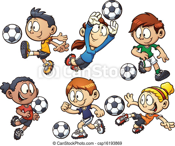 cartoon soccer kids csp16193869 - Cartoon Drawings Of Kids