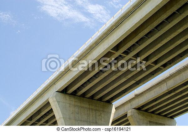 Underside of highway bridges on blue sky - csp16194121