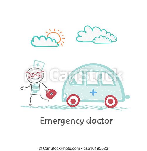 Emergency doctor with the machine - csp16195523
