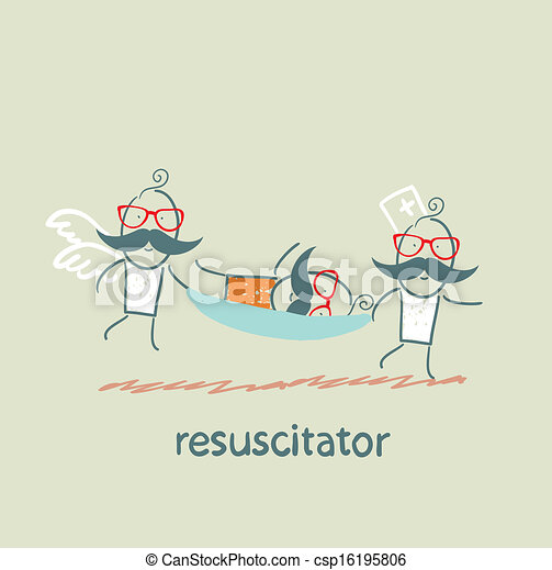 Stock Illustration of resuscitator carry on a stretcher ...