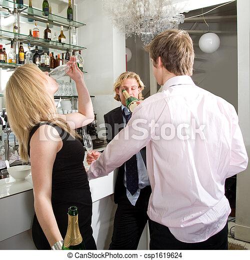 drunks drinking champagne - csp1619624