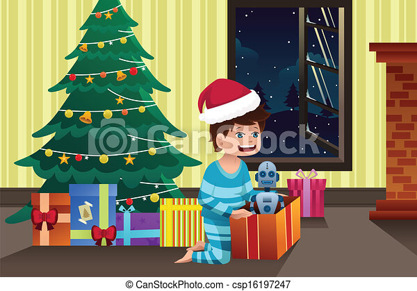 EPS Vector of Boy opening a present under the Christmas ...