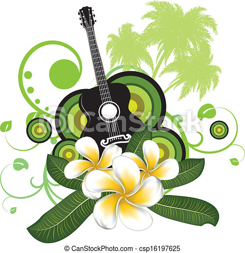 vector illustration of plumeria flowers and guitar Digital Illustration Vector Illustration Cartoon