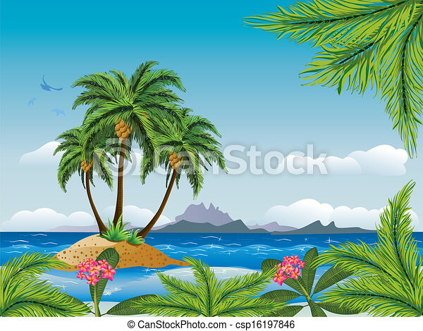 Tropical island in the ocean - csp16197846