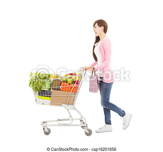 happy young woman with  shopping cart - csp16201656
