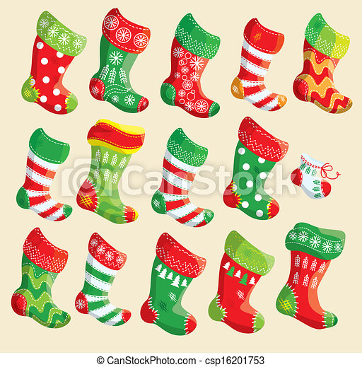 Clipart Vector of Set of various Christmas stockings. Elements for X ...
