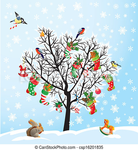 Winter tree with birds, squirrel, Xmas shoes, candies and presents. Christmas and New Year card. - csp16201835