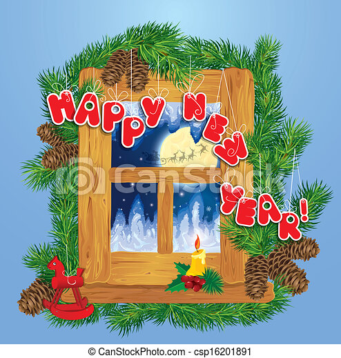 Christmas and New Year card with flying reindeers on sky background in wooden frosty window, fir tree branches, candle and horse toy. - csp16201891