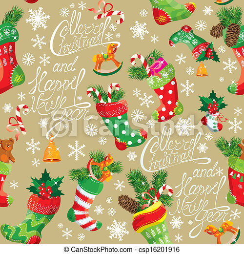 X-mas and New Year background with Christmas stockings. Seamless pattern for holiday design. - csp16201916