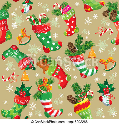 X-mas and New Year background with Christmas stockings. Seamless pattern for holiday design. - csp16202266
