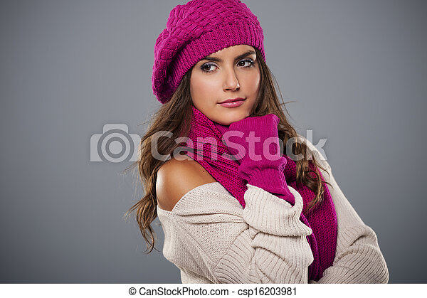 Portrait of fashionable woman in winter season - csp16203981