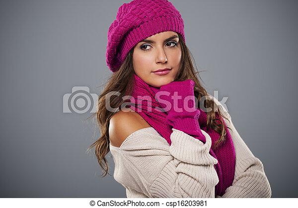 Portrait of fashionable woman in winter season  - csp16203981