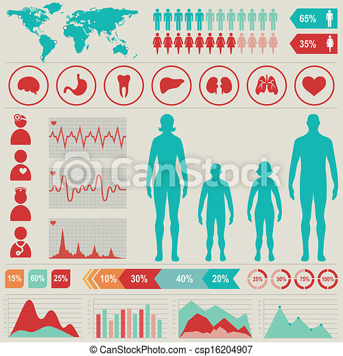Medical infographic set with charts and other elements. Vector illustration. - csp16204907