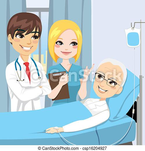 Vector Illustration of Doctor Visit Senior Patient ...