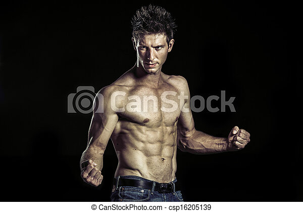 Martial art athlete taking his position for fight - csp16205139