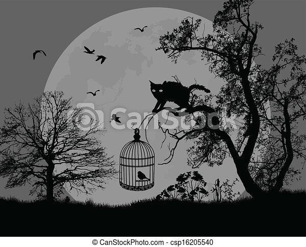 vecteur eps de chat arbre oiseau cage beau paysage. Black Bedroom Furniture Sets. Home Design Ideas