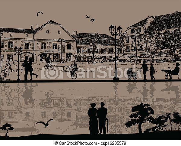 Beautiful cityscape and people silh - csp16205579