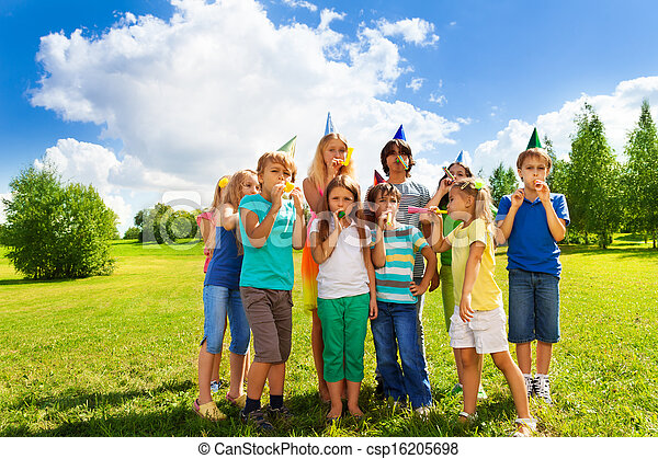 Large group of kids on birthday party - csp16205698
