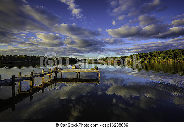 Solnedgånger, sydlig, reflexion - csp16208689