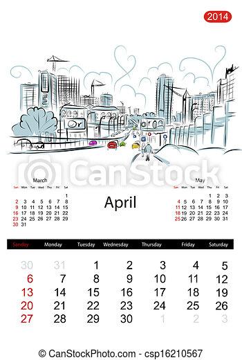 Calendar 2014, april. Streets of the city, sketch for your design - csp16210567