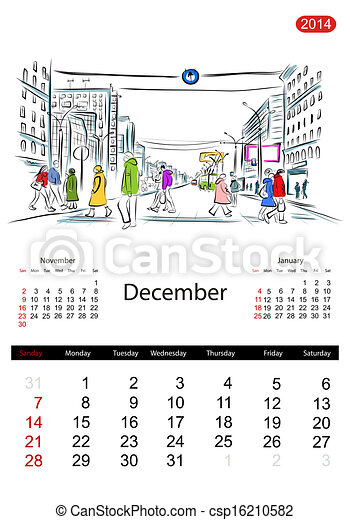 Calendar 2014, december. Streets of the city, sketch for your design - csp16210582