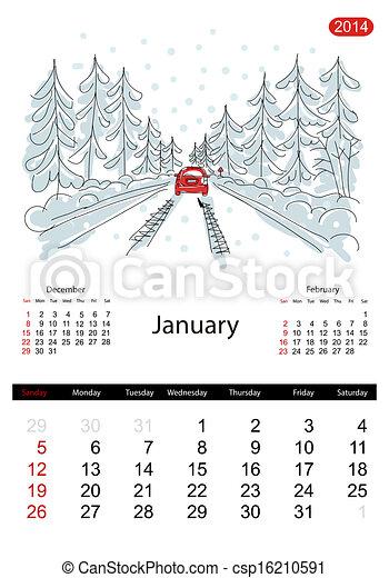 vektor kalender 2014 januar stra en stadt skizze dein design stock illustration. Black Bedroom Furniture Sets. Home Design Ideas