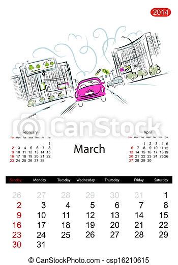 Calendar 2014, march. Streets of the city, sketch for your design - csp16210615