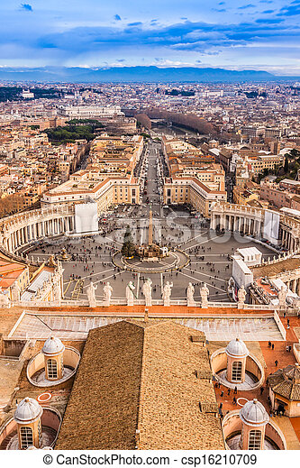 Rome, Italy. Famous Saint Peter's Square in Vatican and aerial view of the city. - csp16210709