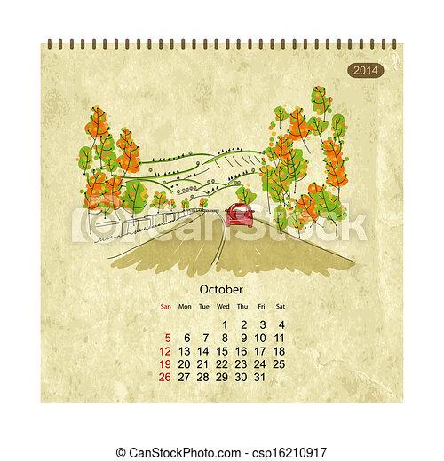 vektor clip art von kalender 2014 oktober stra en stadt skizze dein csp16210917. Black Bedroom Furniture Sets. Home Design Ideas