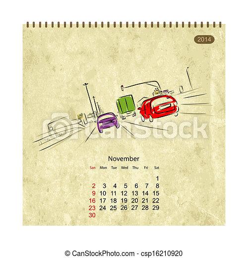 vektor kalender 2014 november stra en stadt skizze dein design stock illustration. Black Bedroom Furniture Sets. Home Design Ideas